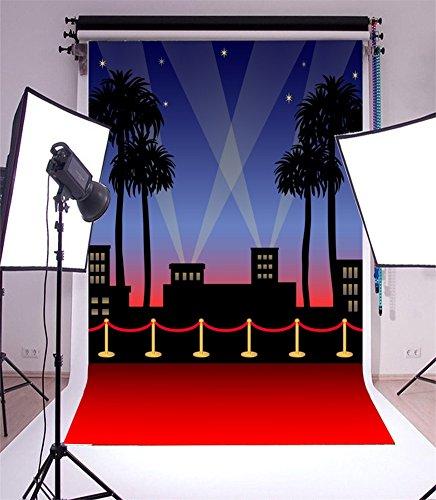 YongFoto 1,5x2,2m Vinyl Foto Hintergrund Hollywood Bühne beleuchtet roten Teppich Kokosnussbaum Leuchtende Sterne Abstrakt Fotografie Hintergrund für Fotoshooting Portraitfotos Party Kinder Hochzeit Fotostudio Requisiten