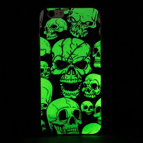 iPhone 6S Plus Tpu Handyhülle,iPhone 6 Plus Hülle,JAWSEU Ultradünne Weiche Flexible Night Luminous Traumfänger Giraffe Muster Transparent Rückseite Schutzhülle Tasche Crystal Leuchtende Nacht-Abdeckun Schädel,Schwarz