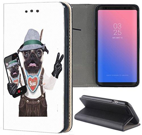 Handyhülle für Samsung Galaxy A5 2016 Premium Smart Einseitig Flipcover Flip Case Hülle Samsung A5 2016 A510 Motiv (1114 Hund Bayern Lederhose Braun Weiß)