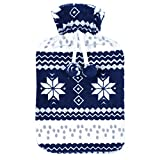 Navy Fleece Covered Large Hot Water Bottle Snowflake Nordic Pattern Dark Blue White Open Top Natural Rubber