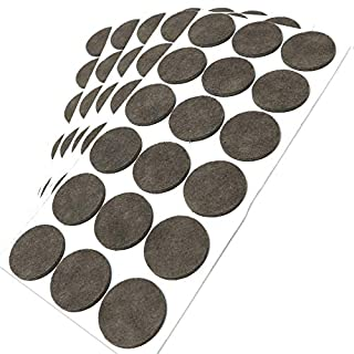 Adsamm® | 90 x self-Stick Felt Pads | Ø 1.42'' (Ø 36 mm) | Brown | Round | self-Adhesive Furniture Glides with Felt Thickness of 0.138''/3.5 mm in top-Quality