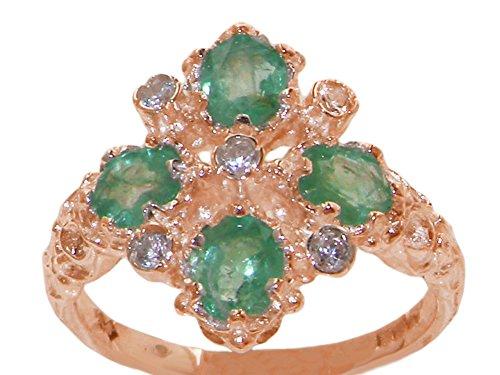 Luxus Damen Ring Solide 14 Karat (585) Rotgold mit Smaragd und Diamanten - Verfügbare Größen : 47 bis 68
