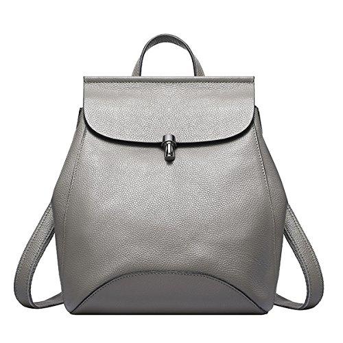Valin Q0774 Damen Leder Handtaschen Top Handle Satchel Tote Taschen Schultertaschen,23x12x28 B x T x H (cm) Grau