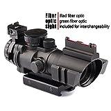 VERY100 Zielfernrohr 4x32mm Leuchtpunktvisier mit Fiberoptic Red Green Dot Visier Zielgerät (11MM)