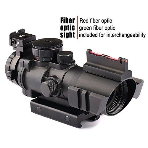 VERY100 Zielfernrohr 4x32mm Leuchtpunktvisier mit Fiberoptic Red Green Dot Visier Zielgerät (11MM) (Visier Acog)