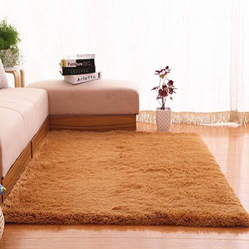 Rechteck Plüsch (RUG ZI LING Shop- Lange Plüsch Ultra Weiche Flauschige Teppiche Rechteck Rutschfeste Faux Wollteppich Für Wohnzimmer Schlafzimmer Balkon Fußmatten (120x160 cm) (Farbe : Gelb))