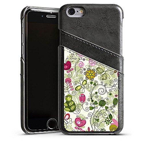 Apple iPhone 4 Housse Étui Silicone Coque Protection Papillons Fleurs Fleurs Étui en cuir gris