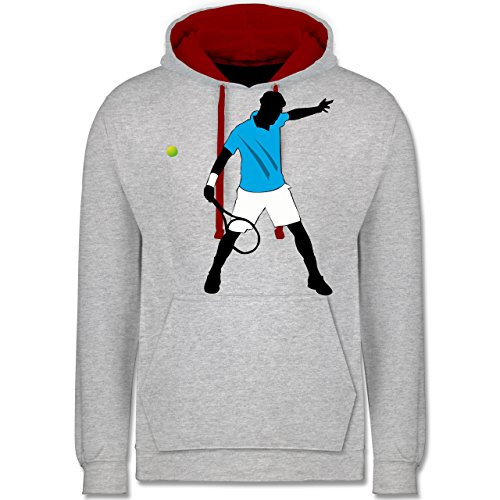 Tennis - Tennis Spieler Squash - Kontrast Hoodie Grau Meliert/Rot