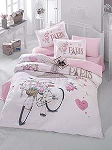 bekata paris amour 100 coton double full queen size couette housse de couette ensemble sur le. Black Bedroom Furniture Sets. Home Design Ideas