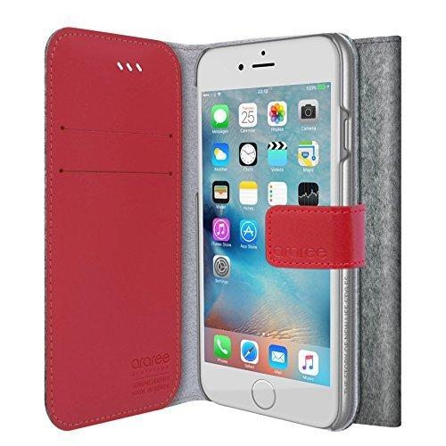 iPhone 6S Portafoglio copertura della, araree [Neat Diary] tessuto Premium Custodie del raccoglitore di vibrazione del cuoio genuino con il supporto della carta di credito per Apple (2015) - CASHMERE SOD