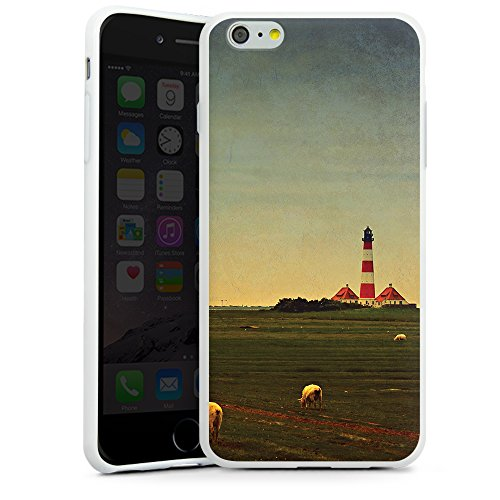 "artboxONE Handyhülle Apple iPhone 6s Plus, weiß Sideflip-Case Handyhülle ""Leuchtturm I Case"" - Reise - Smartphone Sideflip Case mit Kunstdruck von AD Design Silikon Case weiß"