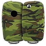 kwmobile Funda para Llave de 3 Botones para Coche VW Skoda Seat - Carcasa Protectora [Suave] de [Silicona] - Case de Mando de Auto con diseño Camouflage