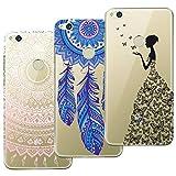 Yokata [3 Packs] Huawei P8 Lite 2017 Hülle Silikon Transparent Durchsichtig Handyhülle Schutzhülle TPU Dünn Slim Kratzfest mit Motiv Muster - Mandala + Feder + Mädchen und Schmetterling