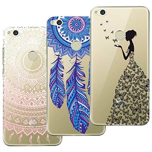 Yokata Kompatibel mit Huawei P8 Lite 2017 Hülle Silikon Transparent Durchsichtig Handyhülle Schutzhülle TPU Dünn Slim Kratzfest mit Motiv 3 Pack - Mandala + Feder + Mädchen und Schmetterling -