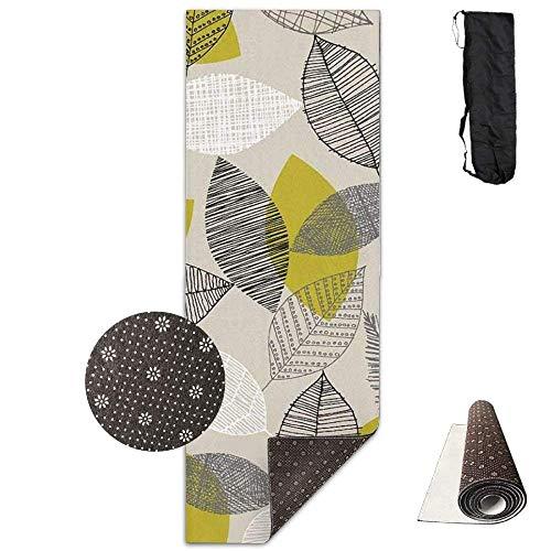FGRYGF Non Slip Fitness Exercise Mat, Workout Mat for Yoga, Pilates and Floor Exercises, Non Slip Yogamatte,Scattered Leaves 3D Print Velvet with Carrying Strap -