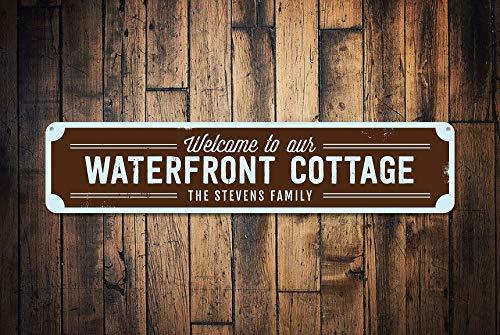 Waterfront Cottage (qidushop Waterfront Cottage Schild personalisierbar Welcome Beach Schild Custom Family Name Sign Metall Metall Metall Blechschild für Home Decor Wand Post Hauseinweihung Geschenk)