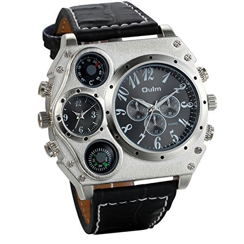 JewelryWe Herren Armbanduhr, Leder Legierung, Analog Quarz Kompass Thermometer Armband Uhr, Schwarz Leder Armband mit Schwarz Zifferblatt