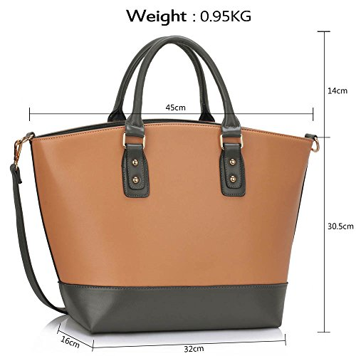 Trendstar Frauens Maxi Entwerfer Schulter Leder Taschen Stilvolle Shopper Handtaschen (X - Grau/Nude) X - Grau/Nude
