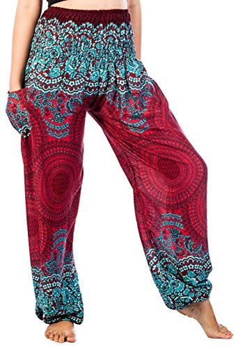 Lofbaz Damen Lange Bohemian Maxi Rock Hippie Gypsy Boho Kleid - Rose 1 Weinrote - OS