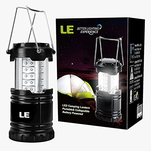 LE LED Camping Laterne zusammenklappbar haltbar 30 LEDs, Batteriebetrieb, Wasserdicht, tragbare Außenleuchte für Wandern, Camping, Notfall, Ausfälle, Nachtlicht, Gartenlaterne