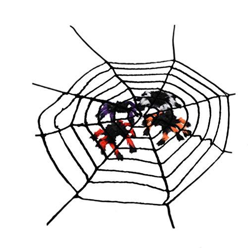 Amosfun 3 stücke Halloween Spinnennetz mit Spinnen Horror Zotten Spinne Simulierte Spinnennetze Schwarz und Multicolor Spinne für Halloween Party Indoor Outdoor Haus Hof Bar Party Supplies