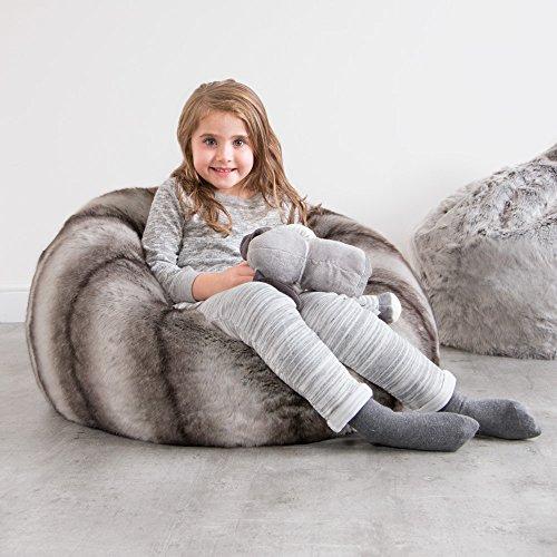 ICON Kindersitzsack - Luxus Kunstpelzsitzsack für Kinder – GRAU BAVARIAN WOLF - Dieser großer flauschige Kindersitzsack ist ein silbergrau gestreift Kunstpelz in XL Format