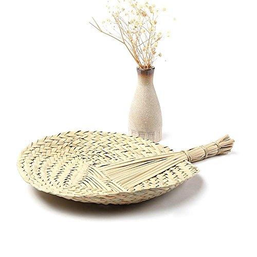 Rund CATTAIL Leaf Fan handgefertigt für Sommer, Chinesischer Stil natürlichen Handheld Fan Palmblatt Cool Fan Exquisite Handwerk perfekt für Sommer, Home Dekoration, Partyzubehör (Hochzeiten Fans Für Programm)
