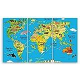 ge Bildet® hochwertiges Leinwandbild XXL - Weltkarte für Kinder - Hellblau - bild für kinderzimmer - 165 x 100 cm mehrteilig (3 teilig) 2200 K