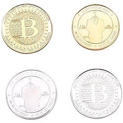 Koreyoo 2 Stück Limited Edition Bitcoin Gedenk Deluxe Collectors Münze Sammlerstück BTC Münze Kunst Sammlung Geschenk Sammlerstück Münze (Seidenstraße) (H01)