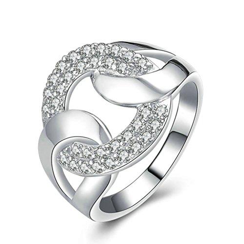 Daesar Silberring Damen Ring Silber Ehering für Damen Verlobungsring Benutzerdefinierte Ring Hohl Annulus Strass Ring Größe:63 (Paar Kostüm Kaugummiautomaten)