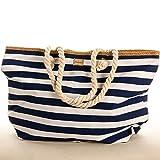 Große Strandtasche Strand Tasche Beach Bag Shopper marine Streifen maritim blau Groß Big 59 x 38 x 18 cm