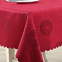BATSDCB Classic Damask pattern Tablecloth, Ideal for indoor and outdoor use-red 140x180cm(55x71inch)
