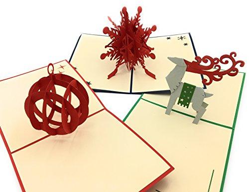 p Grußkarten von K & A-3Karten & Umschläge mit Festive holiday Themen: Schneeflocken, Rentiere, und Baum Ornaments ()