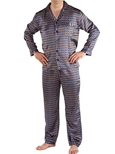 Hombres raso Establece pijama Camisón sedoso satén de raso largo pijamas M -Navy