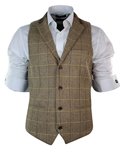 Herrenweste Braun Eiche Farbe Tweed Karriert Fischgräte Design Retro Eng (Tweed Herren)