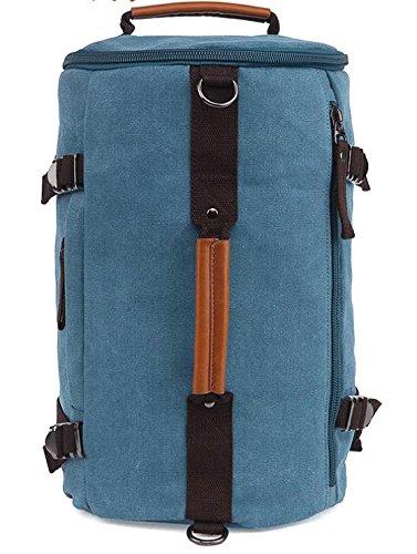 &ZHOU Borsa di tela, Maschio, femmina alpinismo borsa portatile tela zaino sport barile marea spalla computer borsa tempo libero pacchetto di viaggio , khaki days blue