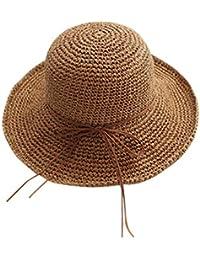 TININNA Femme Capeline Pliable Hat Chapeau de Soleil Réglable Paille Large  Bord Casquette Visière Eté Plage 1cdc2c776df