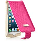 Pipetto iPhone 5S Hülle, Apple iPhone 5S Hülle Leder Display Klappe schlank + Brieftasche Echte Schlangenhaut (Rosa + Gold)
