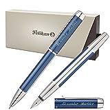 Pelikan Schreibset PURA Blau-Silber mit persönlicher Laser-Gravur Kugelschreiber und Füllfederhalter