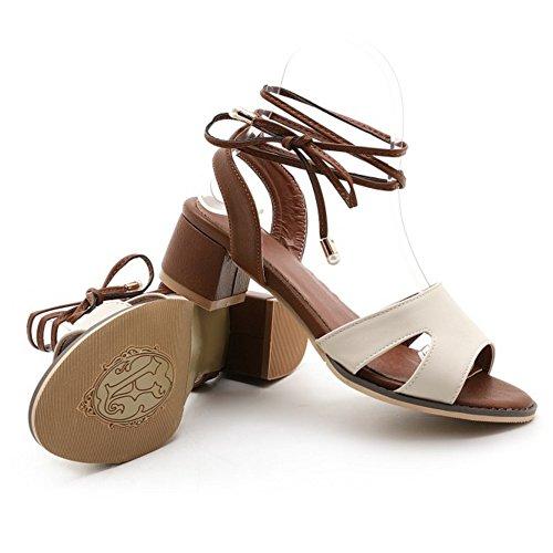 COOLCEPT Femme Mode Lacets Sandales Bout Ouvert Talon Bloc Slingback Chaussures Beige