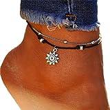 Timetries Multicouche Bracelet de Cheville Le soleil Pendentif Femmes Pied Bijoux Pieds Nus Sandale Plage Cheville Bracelet