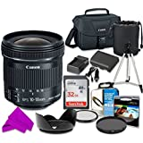 Professional Accessory Kit With Canon EF-S 10-18mm F/4.5-5.6 Is STM Lens & SanDisk 32GB Class 10 Memory + Canon 100ES Shoulder Bag + Bundle Package For Canon EOS Rebel SL1 Digital SLR Camera