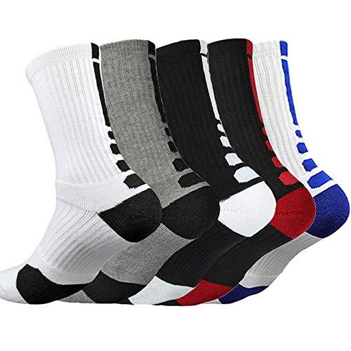 LITTHING Calcetines deportivos antideslizantes de algodón para hombre Desodorante respirables para baloncesto fútbol Yoga de balonmano Correr engrosamiento de ciclismo (5)