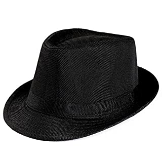 Unisex Men Women Packable Fedora Trilby Straw Sun Beach Hats On Sale (Black)