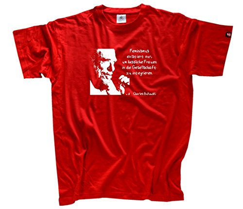 Shirtzshop–Maglietta da uomo Charles Bukowski femminismo esiste solo per haessliche donne, Uomo, Charles Bukowski - Feminismus existiert nur um haessliche Frauen T-Shirt  XXXL, rosso, XXXL rosso