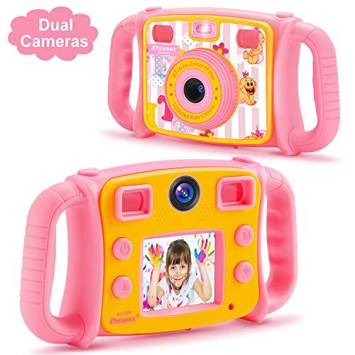 DROGRACE Kinderkamera 1080P HD Digital Foto / Video Kamera Selfie Dual Kamera mit 4-fachem Zoom, Blitzlicht, 5,1 cm LCD und Tropfenfest für Jungen Mädchen Geburtstag Pink Hd-digital-kamera-video-kameras