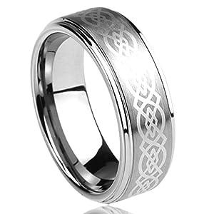 8MM Kleine Schätze – Edelstahl Ring Ehering / Trauring / Partnerring Keltischer Knoten Gravierte