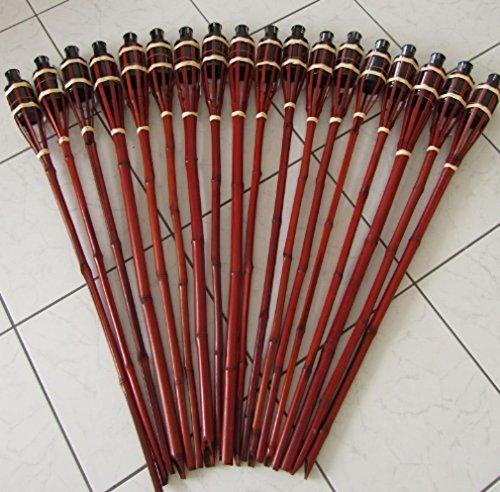 18 Stück Gartenfackeln 60 cm Bambus Fackel Öllampen mit Sturmverschluss Dochtschutz mahagonifarben