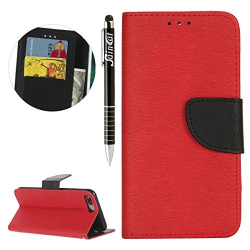 iPhone 7 Plus Custodia,SainCat Custodia in Pelle Cover per iPhone 7 Plus,Anti-Scratch Protettiva Caso Elegante Creativa Dipinto Pattern Design PU Leather Flip Portafoglio Custodia Libro Protettiva Cus Rosso + Nero