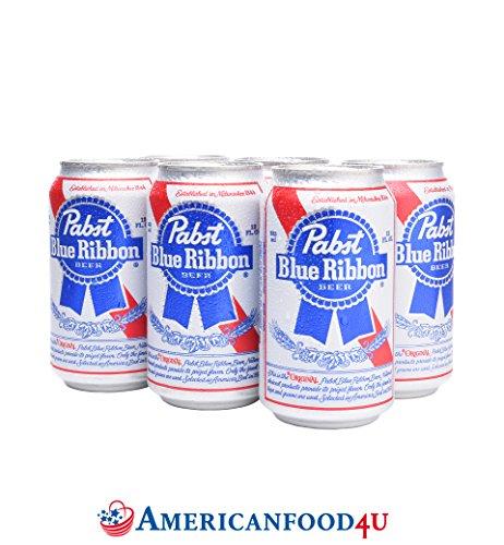 AMERICANFOOD4U Biere - Pabst Blue Ribbon | 24er Pack Dosen / Cans | 24 x 355ml amerikanisches Bier | Die Original Importware aus den USA als perfektes Geschenk für Männer | Das leckere Lagerbier - Für Deine amerikanische Grillparty, dein Barbecue (BBQ) mit Freunden oder als perfektes Getränk für die nächsten NFL, NBA oder MLB Playoffs | Das USA Spitzenbier für und aus aller Welt - Jetzt bei Dir zu Hause! [+GRATIS Dosenkühler]